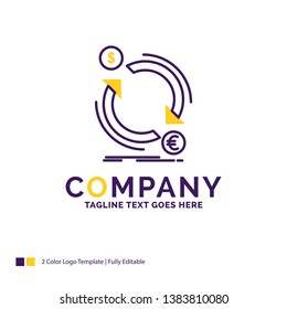 Company Name Logo Design For exchange, currency, finance, money, convert. Purple and yellow Brand Name Design with place for Tagline. Creative Logo template for Small and Large Business.
