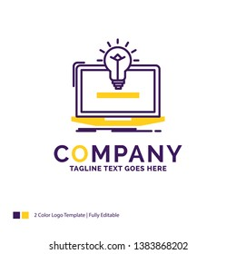 Company Name Logo Design For laptop, solution, idea, bulb, solution. Purple and yellow Brand Name Design with place for Tagline. Creative Logo template for Small and Large Business.