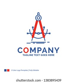 Company Name Logo Design For Precision, accure, geometry, compass, measurement. Blue and red Brand Name Design with place for Tagline. Abstract Creative Logo template for Small and Large Business.
