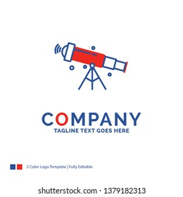 Company Name Logo Design For telescope, astronomy, space, view, zoom. Blue and red Brand Name Design with place for Tagline. Abstract Creative Logo template for Small and Large Business.