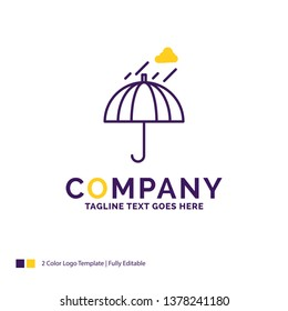 Company Name Logo Design For Umbrella, camping, rain, safety, weather. Purple and yellow Brand Name Design with place for Tagline. Creative Logo template for Small and Large Business.