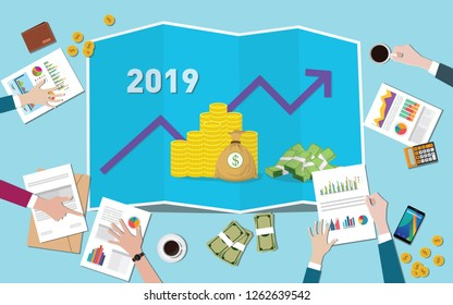 company new target on new year 2019 with team working together on the table vector illustration