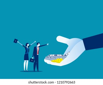 Company offer salaries to employees. Concept business vector illustration, Bonus, Salary up, Growth.