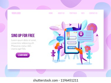 Company or Online Service Internet Site, Landing Page, Web Application New Account Sign Up or Registration Page with Navigation Links Flat Vector Template in Pastel Colors. User Onboarding Web Page