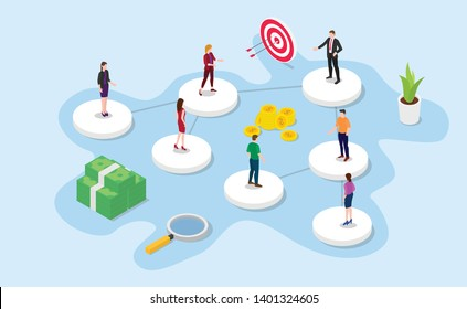 company or organization structure concept with isometric or isometry 3d style with modern color design - vector