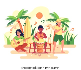 The company organizes a recreational beach party for its employees. The band consists of drums, guitars, zacs. vector illustration flat design