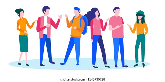 Company people support dialogue, communicate, Concept for web page, banner, presentation, social media, documents, cards, posters. Vector illustration, news, catting, team work, community, man, woman