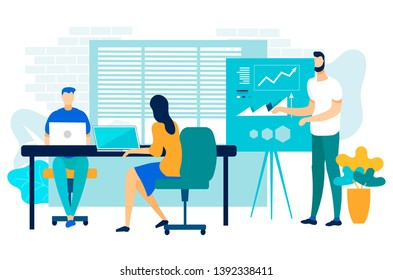 Company Performance Report Vector Illustration. Employees Listen to Progress Report. Bearded Man Shows Results on Graphic Chart. Team Work Young Professional Managers. Cartoon Flat.