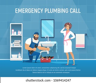 Company Plumber Repair Pipe Leak under Washstand in Bathroom. Vector Cartoon Character with Wrench Clean Service of Pipeline.