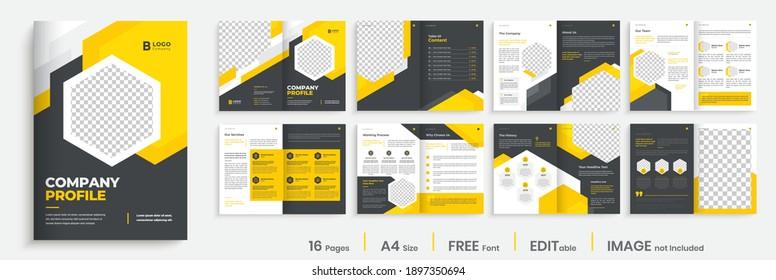 Company profile brochure template layout, yellow color shape template design, modern brochure design