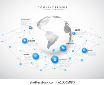 Company profile overview template with blue circles, dots and polygonal globe - light version.