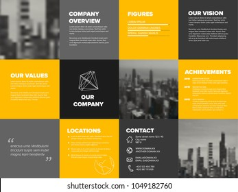 Company profile template - corporation main information predentation - yellow and gray version