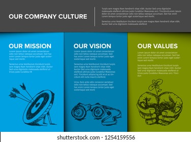Company profile template - corporation main information presentation with mission, vision and values statement