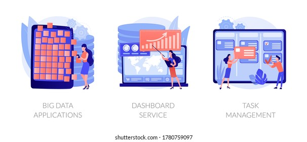 Company projects management optimization. Business activity automation. Big data applications, dashboard service, task management metaphors. Vector isolated concept metaphor illustrations