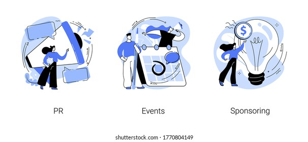 Company public relations abstract concept vector illustration set. PR, events and sponsoring, promotion strategy, event calendar, company investment program, website menu bar abstract metaphor.