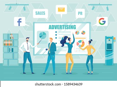 Company Public Relations Employees Working - do PR Mounting Advertising Campaign. Businesspeople in Office Monitoring Sales and Promotion in Social Media Results. Flat Cartoon Vector Illustration.