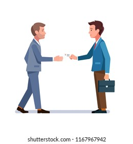 Company representative person giving business card to potential partner or client. Two business men meeting. Introduction, appointment and acquaintance. Flat vector illustration isolated on white