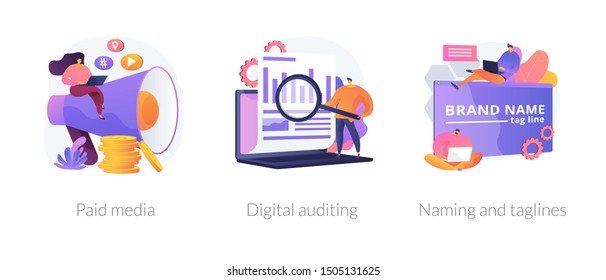 Company services icons set. Marketing platform, online documentation inspection, corporate identity development. Paid media, digital auditing metaphors. Vector isolated concept metaphor illustrations