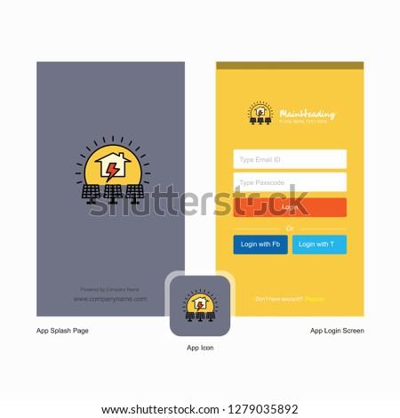 Company Solar Panel Splash Screen Login Stock Vector