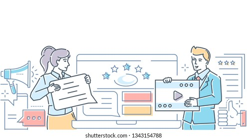 Company testimonials - colorful line design style illustration on white background. A composition with man and woman writing comments, deciding ratings on the website, video symbol. Feedback concept