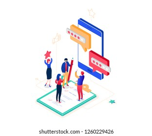 Company testimonials - modern colorful isometric vector illustration on white background. Composition with male, female workers making star rating, comments on smartphone screen. Feedback concept
