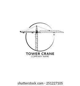 Company of tower crane logo. Vector tower crane sketch for your design.