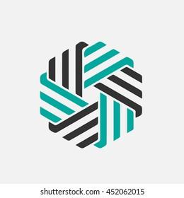 Company vector logo design element. Abstract hexagon shaped vector symbols.