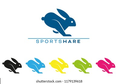 Company vector logo template with running rabbit or hare.