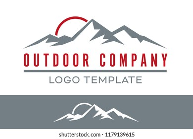 Company vector logo template with sunrise above mountain peaks for outdoor and travel business. Sample text on separate layer.