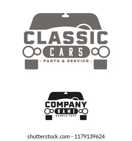 Company vector logo template for vintage cars dealership or garage with classic limousine. Sample text on separate layer.