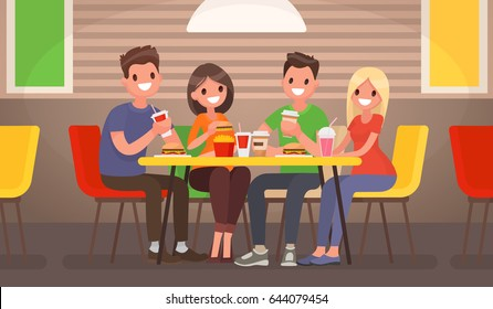 Company of young people is eating at a fast food cafe. Vector illustration in a flat style
