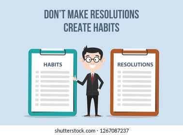 compare between resolutions and habits for target new year for improvement vector illustration