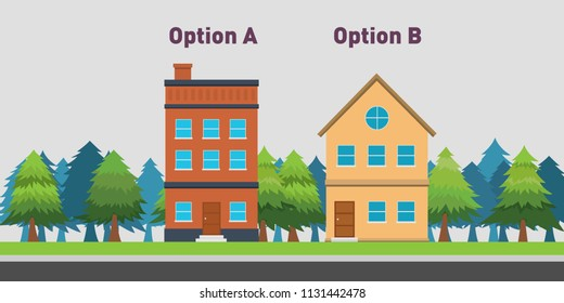 compare between two house to buy with option A and B vector illustration