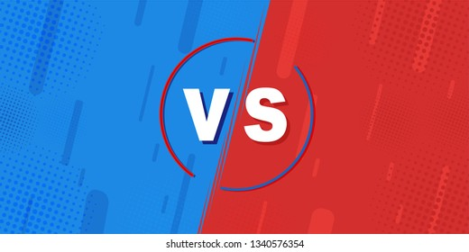 Compared to VS sheets, the fight against backgrounds in flat-panel comic design is made of halftone, lightning. Vector illustration Retro style