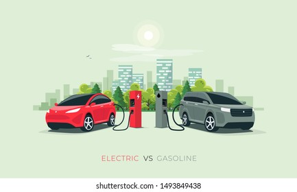 Comparing electric versus gasoline diesel car suv. Electric car charging at charger stand vs. fossil car refueling petrol gas station. Front perspective view. City building skyline in background.