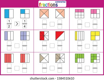 comparing fractions, math worksheet for kids