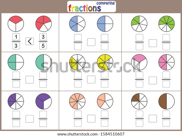 Comparing Fractions Math Worksheet Kids Stock Vector (Royalty Free)  1584510607