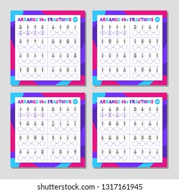 Comparing And Ranging The Fractions Mathematical Worksheet. Math Puzzle. Educational Game. Vector illustration.