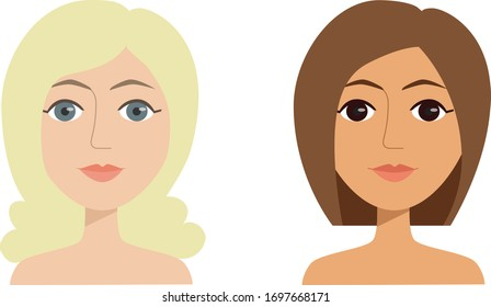 Comparing two young female faces with different colour types of skin, eyes and hair colors. Vector illustration