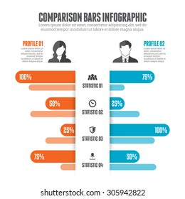 Comparison bars infographic design element.
