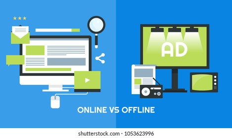 Comparison between online marketing and offline marketing flat vector banner with icons