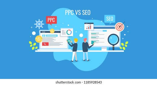 Comparison between SEO and PPC marketing, Digital marketing concept, SEO and PPC flat vector banner