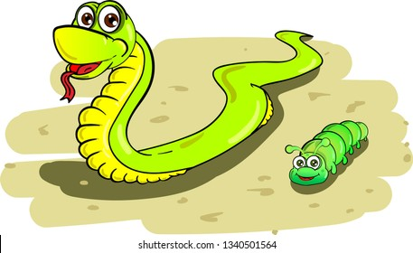 Comparison of cartoon snake and short caterpillar crawling on ground with some stones on white background.