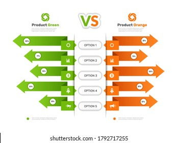 Comparison chart. Infographic table with compare business info products comparison tariff price list vector presentation