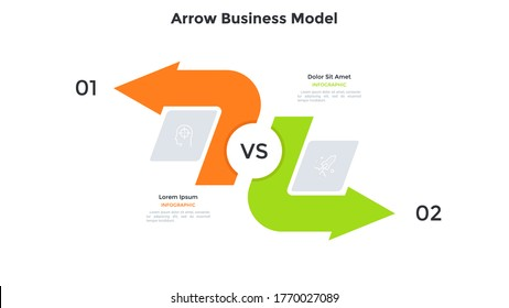 Comparison chart with two arrows pointing in opposite directions. Concept of business model with 2 options to compare. Modern infographic design template. Simple flat vector illustration for banner.