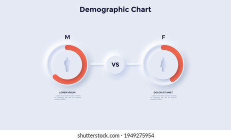 Comparison diagram with man and woman symbols and percentage indication. Concept of sex ratio for population. Neumorphic infographic design template. Modern vector illustration for statistical report.