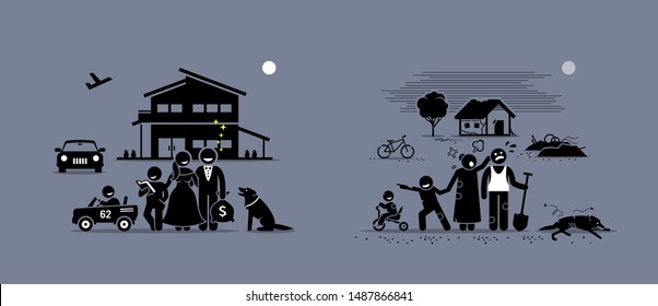 Comparison and difference between rich and poor family. Vector artwork concept depicts the opposite illustrations of wealthy rich and poor people living states and lifestyles.