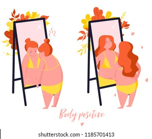 Comparison. Girl who does not like the reflection in the mirror and  girl who loves herself. Body positive illustration with plants in trendy flat style.
