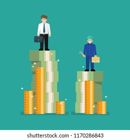 Comparison income between white and blue collar workers. Business concept