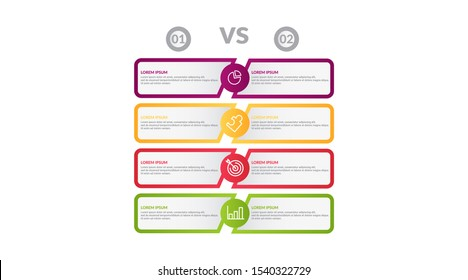 comparison infographic flow chart design . business infographic concept for presentations, banner, workflow layout, comparison diagram, flow chart and how it work